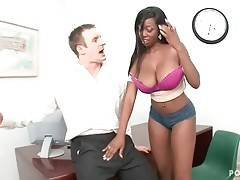 Hot ebonie tries to impress the producer of music studio.