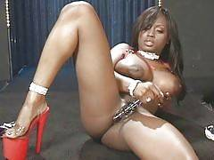 Black beauty Jada Fire is known for her oral expertise. This sexy lady and her stud both get naked. Jada eyes his big cock and goes down to give him a blowjob. She grabs his dick and shoves her mouth and starts slurping his dick and got herself gooed