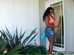 Ebony cutie is going to have some fun poolside.