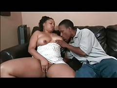Ebony monster likes to lick her appetizing boobs