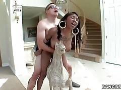 Tough dude cockattacks ebony chick`s tight pussy.